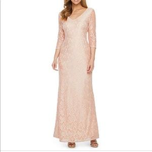 Blu Sage 3/4 Sleeve Lace Evening Gown 14